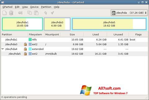 Screenshot GParted untuk Windows 7