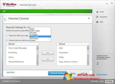 Screenshot McAfee untuk Windows 7