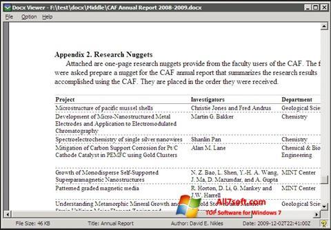 Screenshot DocX Viewer untuk Windows 7