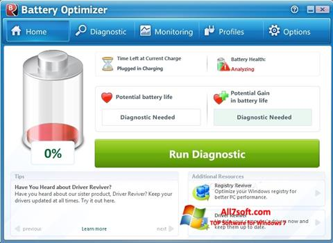 Screenshot Battery Optimizer untuk Windows 7