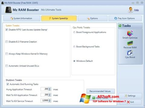 Screenshot Mz RAM Booster untuk Windows 7