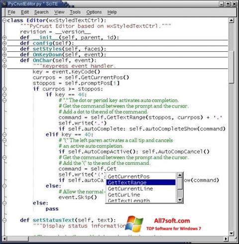 Screenshot SciTE untuk Windows 7