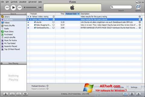 Screenshot iTunes untuk Windows 7