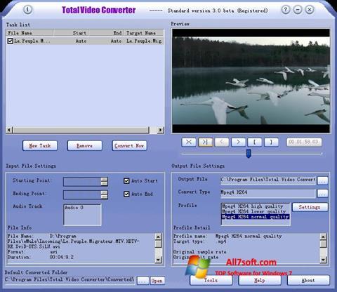 Screenshot Total Video Converter untuk Windows 7