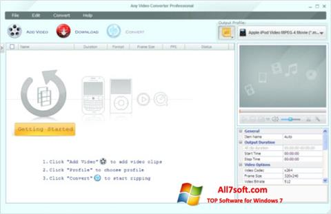 Screenshot Any Video Converter untuk Windows 7