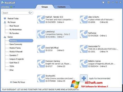 Screenshot RaidCall untuk Windows 7