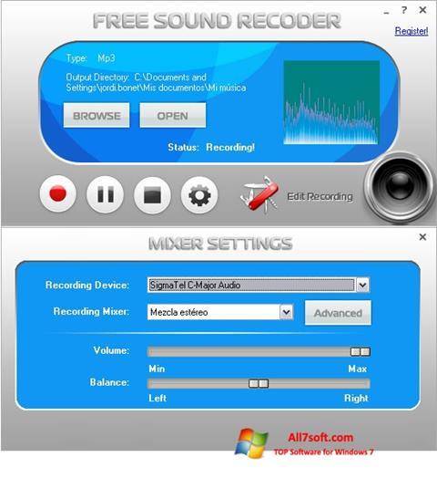 Screenshot Free Sound Recorder untuk Windows 7