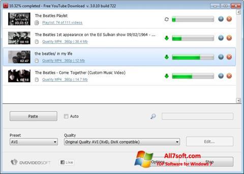 Screenshot Free YouTube Download untuk Windows 7