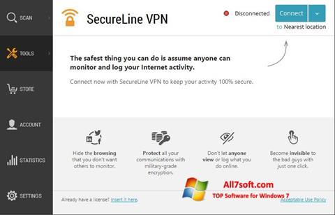 Screenshot Avast SecureLine VPN untuk Windows 7