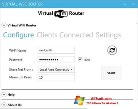 Screenshot Virtual WiFi Router untuk Windows 7
