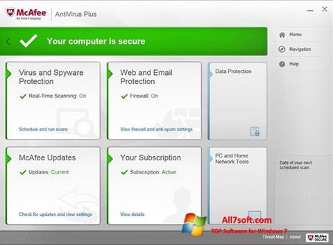 Screenshot McAfee AntiVirus Plus untuk Windows 7