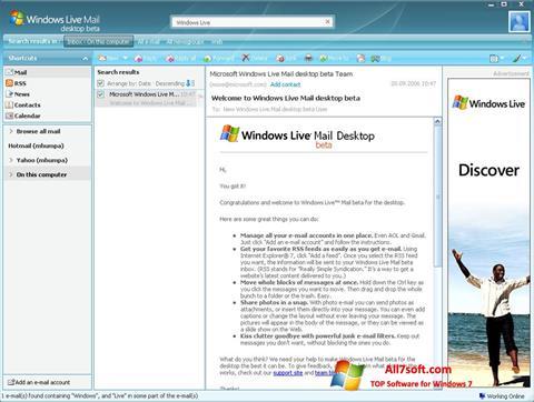 Screenshot Windows Live Mail untuk Windows 7