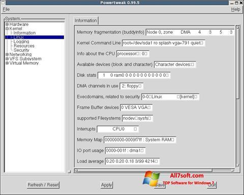Screenshot PowerTweak untuk Windows 7