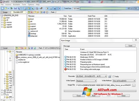 Screenshot UltraISO untuk Windows 7