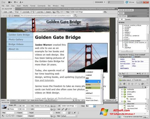 Screenshot Adobe Dreamweaver untuk Windows 7