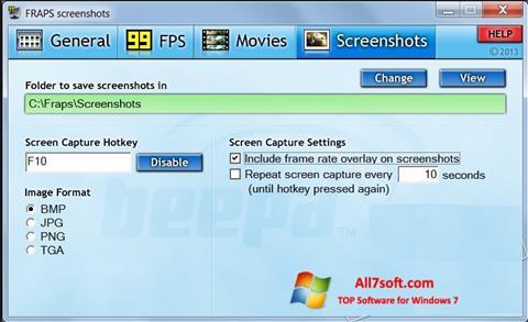 Screenshot Fraps untuk Windows 7