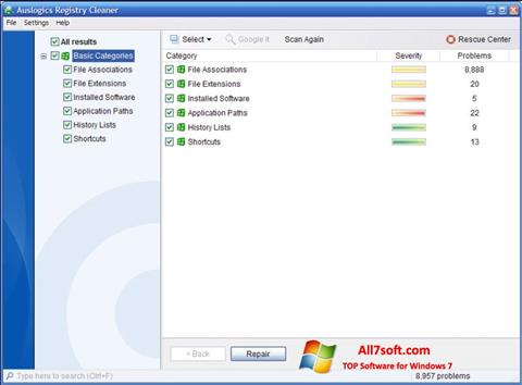 Screenshot Auslogics Registry Cleaner untuk Windows 7