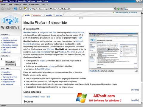Screenshot Mozilla Firefox untuk Windows 7