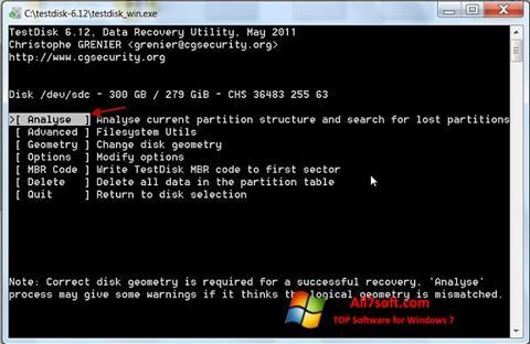 Screenshot TestDisk untuk Windows 7