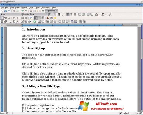 Screenshot AbiWord untuk Windows 7