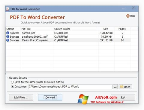 Screenshot PDF to Word Converter untuk Windows 7