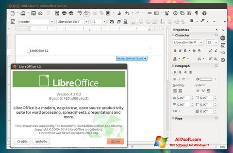 Screenshot LibreOffice untuk Windows 7
