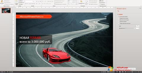 Screenshot Microsoft PowerPoint untuk Windows 7