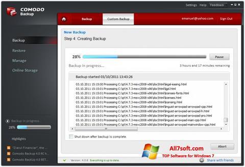 Screenshot Comodo BackUp untuk Windows 7