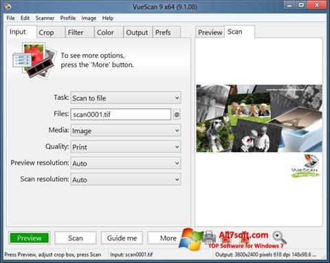 Screenshot VueScan untuk Windows 7