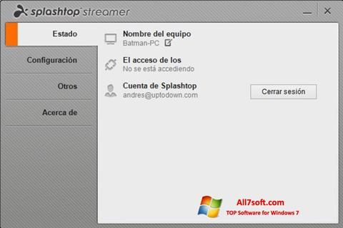 Screenshot Splashtop Streamer untuk Windows 7