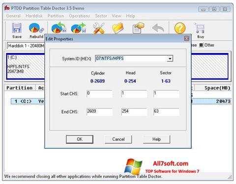 Screenshot Partition Table Doctor untuk Windows 7