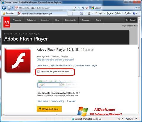 Screenshot Adobe Flash Player untuk Windows 7