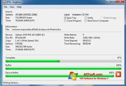 Screenshot ImgBurn untuk Windows 7