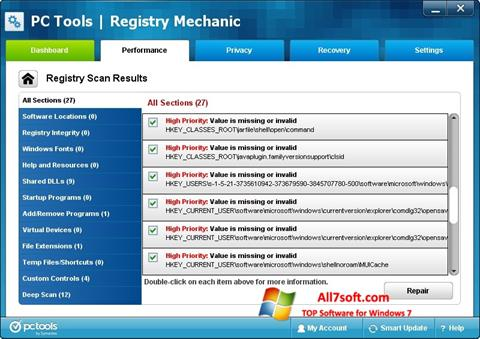 Screenshot Registry Mechanic untuk Windows 7