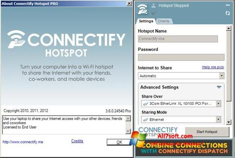 Screenshot Connectify Hotspot PRO untuk Windows 7
