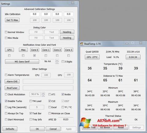 Screenshot Real Temp untuk Windows 7