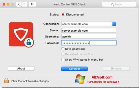Screenshot Kerio VPN Client untuk Windows 7