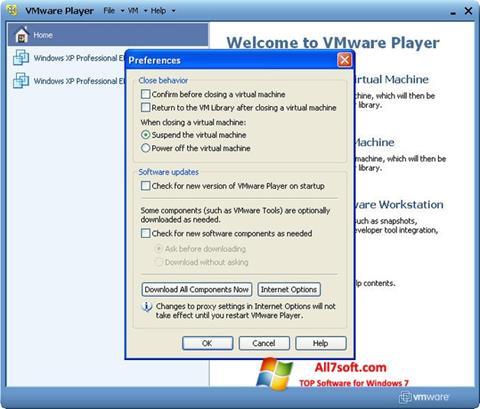 Screenshot VMware Player untuk Windows 7