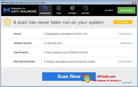 Screenshot Malwarebytes Anti-Malware Free untuk Windows 7