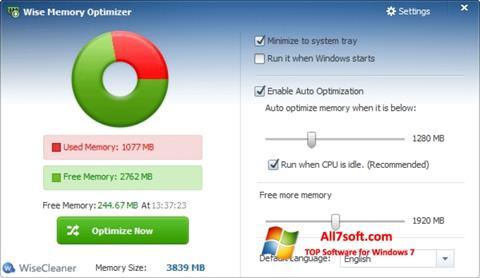 Screenshot Wise Memory Optimizer untuk Windows 7