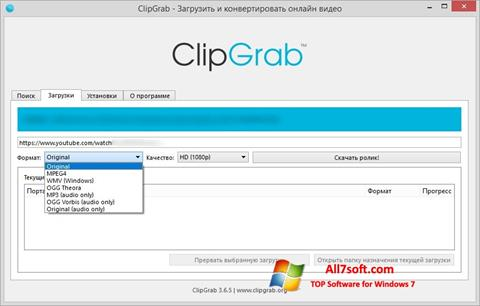 Screenshot ClipGrab untuk Windows 7