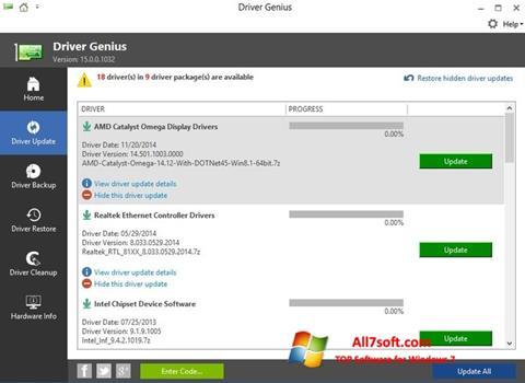 Screenshot Driver Genius untuk Windows 7