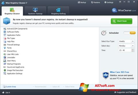 Screenshot Wise Registry Cleaner untuk Windows 7