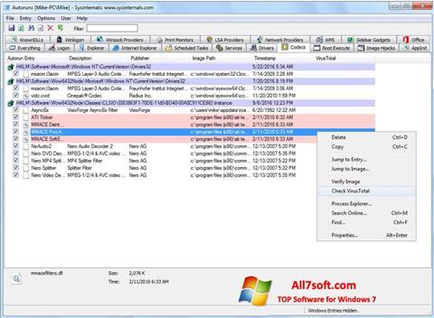 Screenshot AutoRuns untuk Windows 7