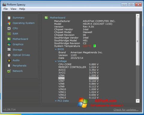 Screenshot Speccy untuk Windows 7