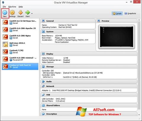 Screenshot VirtualBox untuk Windows 7