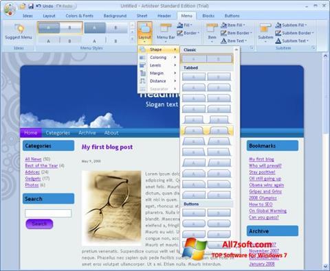 Screenshot Artisteer untuk Windows 7