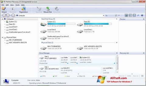 Screenshot RS Partition Recovery untuk Windows 7