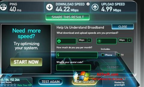Screenshot SpeedTest untuk Windows 7