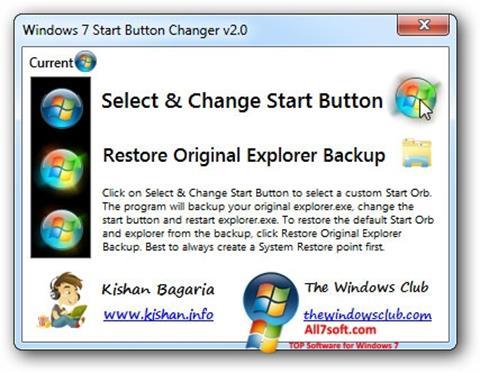Screenshot Windows 7 Start Button Changer untuk Windows 7